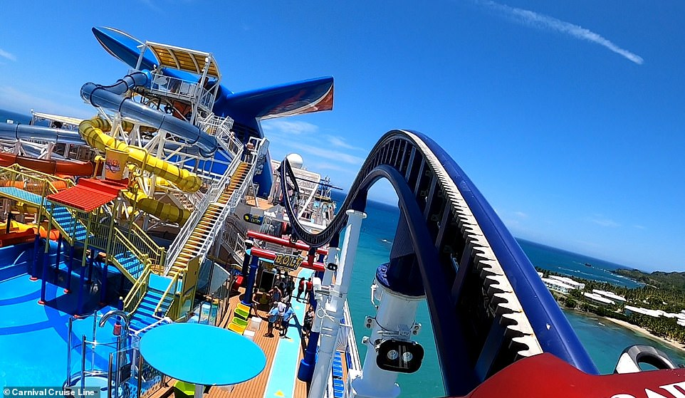 POV footage shows Bolt, the first-ever roller coaster at sea, in action on board the Mardi Gras